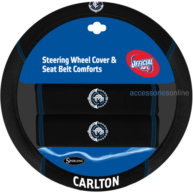 AFL CARLTON BLUES car Steering Wheel & Seat-belt cover SET