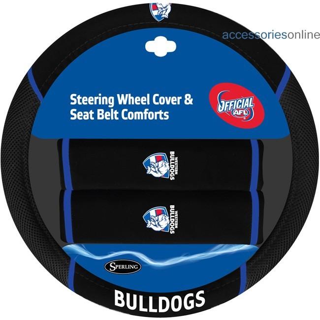 AFL WESTERN BULLDOGS car Steering Wheel & Seat-belt cover SET