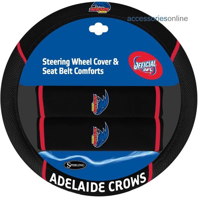 AFL ADELAIDE CROWS car Steering Wheel & Seat-belt cover SET