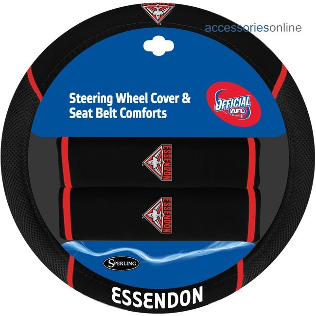 AFL ESSENDON BOMBERS car Steering Wheel & Seat-belt cover SET