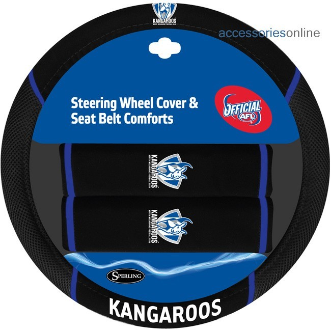 AFL NORTH MELBOURNE KANGAROOS car Steering Wheel & Seat-belt cover SET
