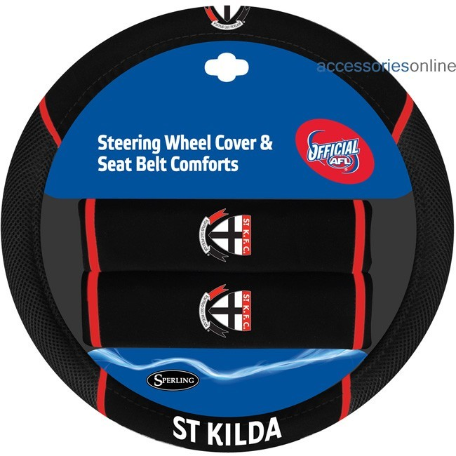 AFL ST KILDA SAINTS car Steering Wheel & Seat-belt cover SET