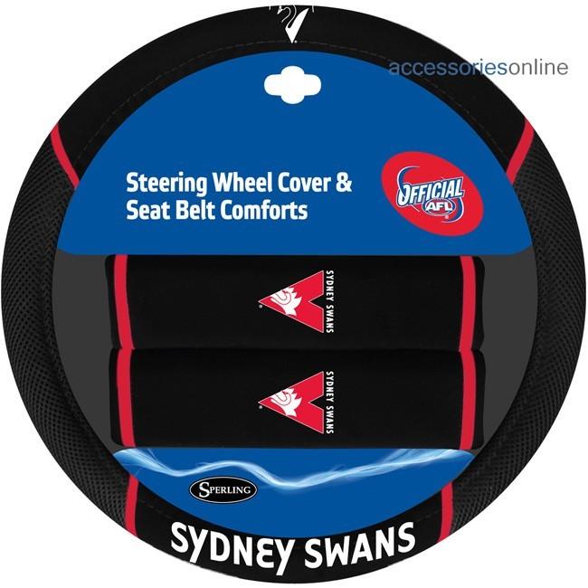AFL SYDNEY SWANS car Steering Wheel & Seat-belt cover SET