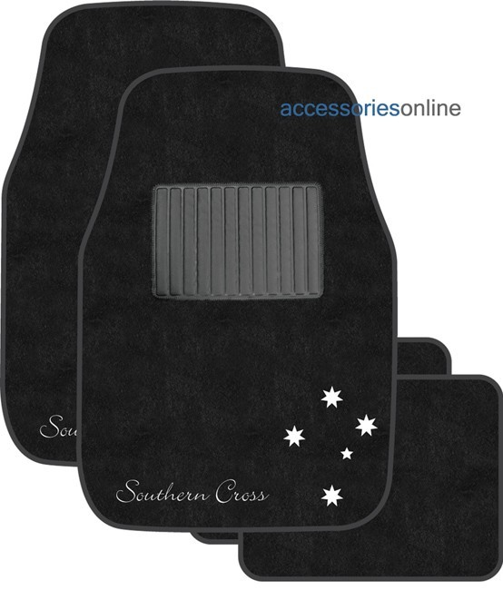 SOUTHERN CROSS CAR FLOOR MATS BLACK and SILVER