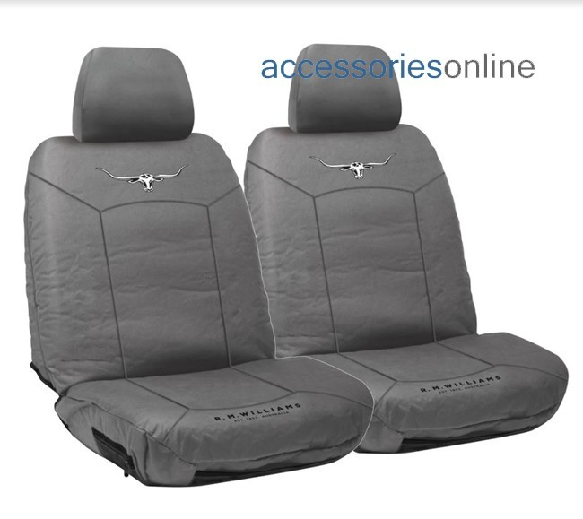 RM WILLIAMS STOCKYARD CANVAS Front car seat covers CHARCOAL *FREE SHIPPING