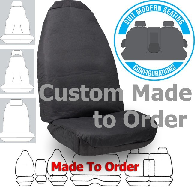COTTON CANVAS (9oz) in CHARCOAL seat covers CUSTOM MADE to your car. Front or Rear