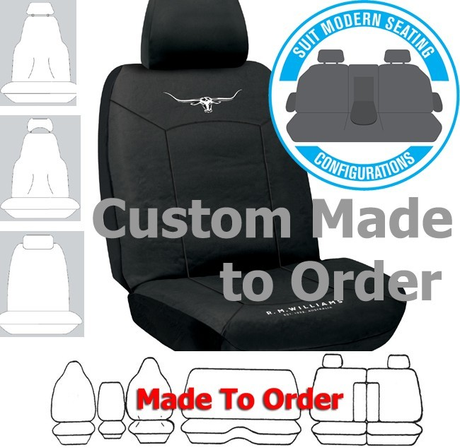 RM WILLIAMS COTTON CANVAS car seat covers BLACK Size CUSTOM MADE *Free Shipping