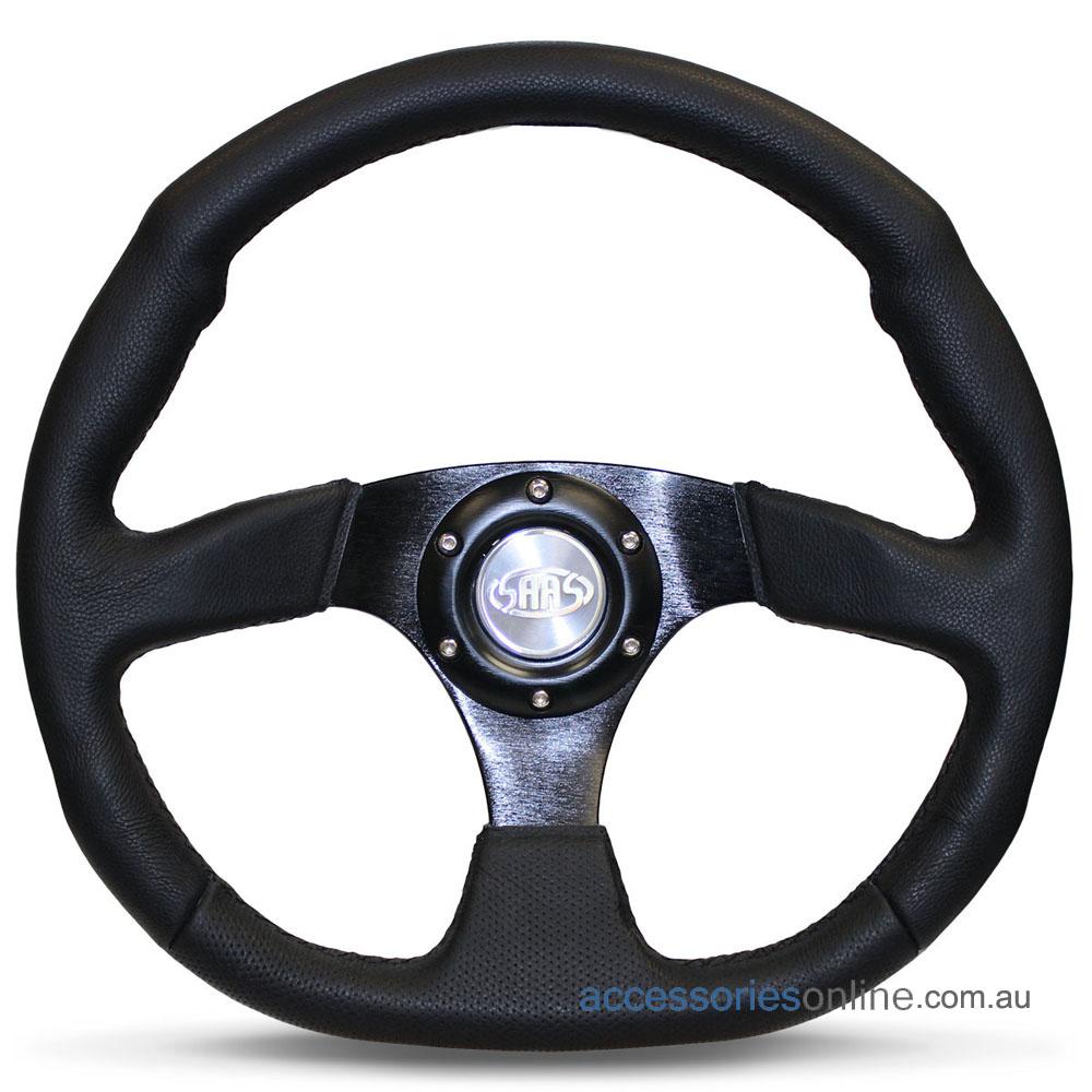 "14"" LEATHER Flat Bottom, Black Spokes, sports steering wheel by SAAS"
