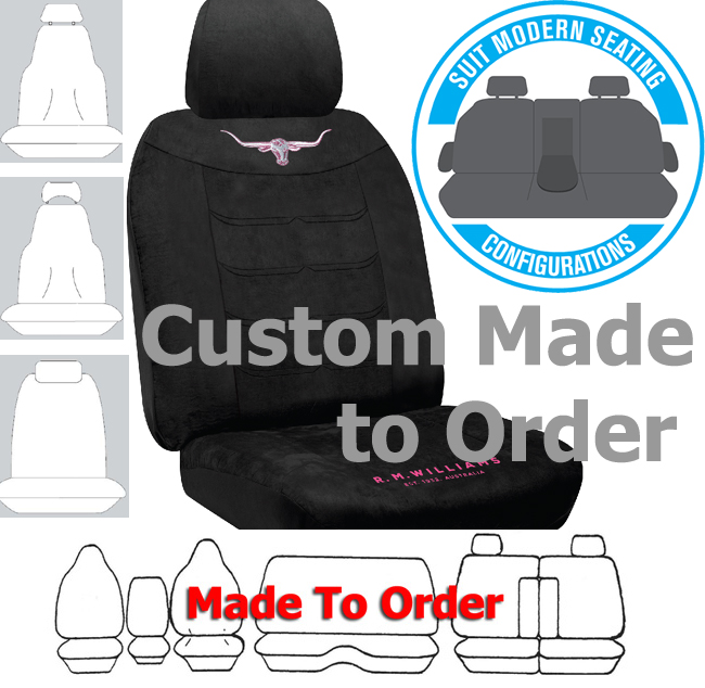 RM WILLIAMS JILLAROO car seat covers BLACK SUEDE VELOUR Size CUSTOM MADE *Free Shipping
