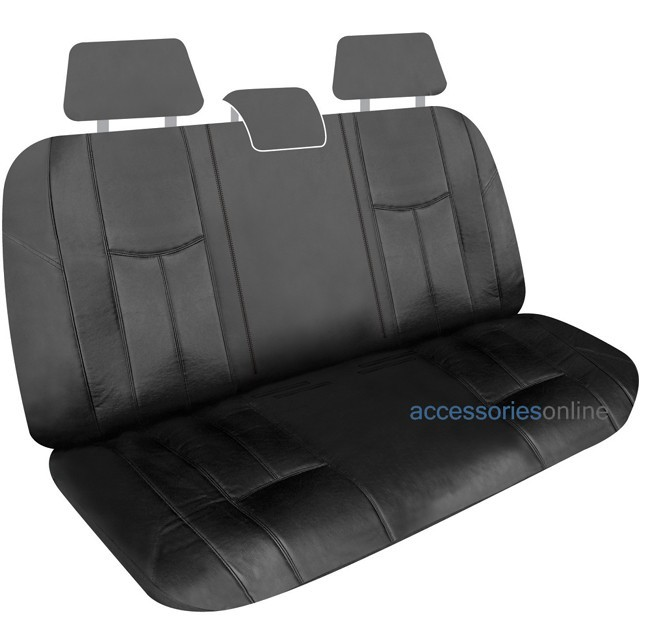 EMPIRE LEATHER LOOK Multi-Fit / Split / Fold Down REAR car seat cover in BLACK