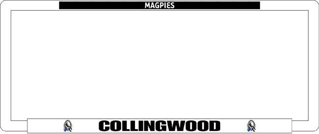 AFL COLLINGWOOD MAGPIES number plate frame
