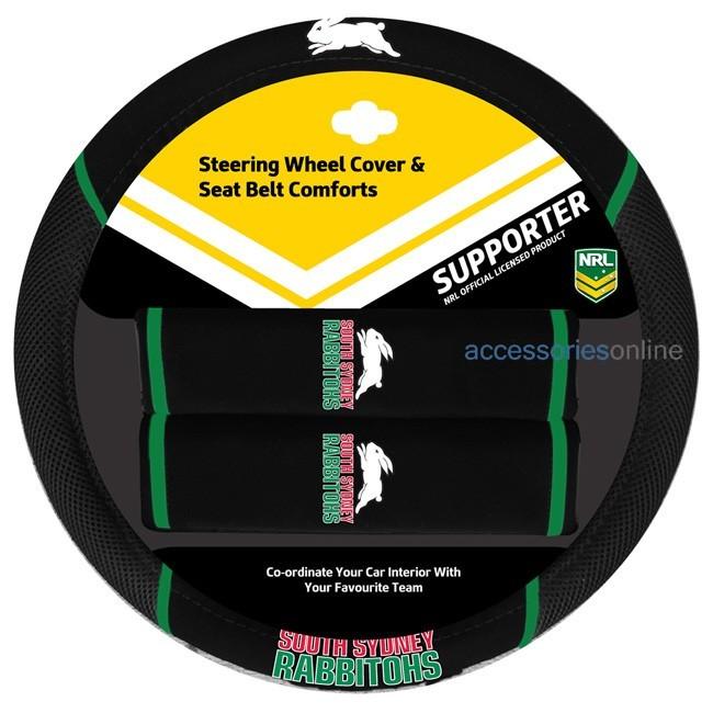 NRL SOUTH SYDNEY RABBITOHS car Steering Wheel & Seat-belt cover SET