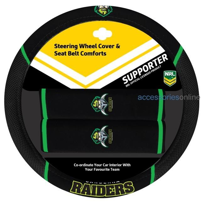 NRL CANBERRA RAIDERS car Steering Wheel & Seat-belt cover SET