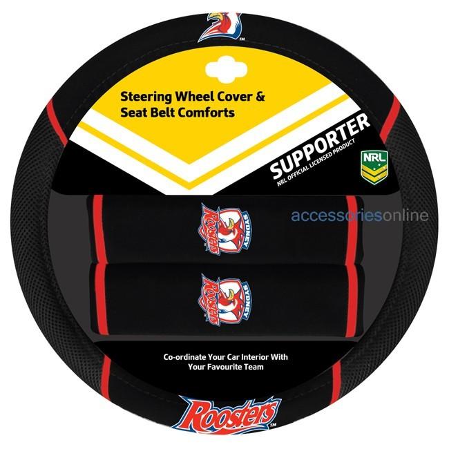 NRL SYDNEY ROOSTERS car Steering Wheel & Seat-belt cover SET