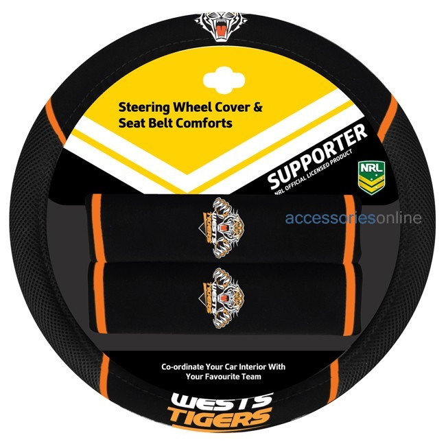 NRL WESTS TIGERS car Steering Wheel & Seat-belt cover SET