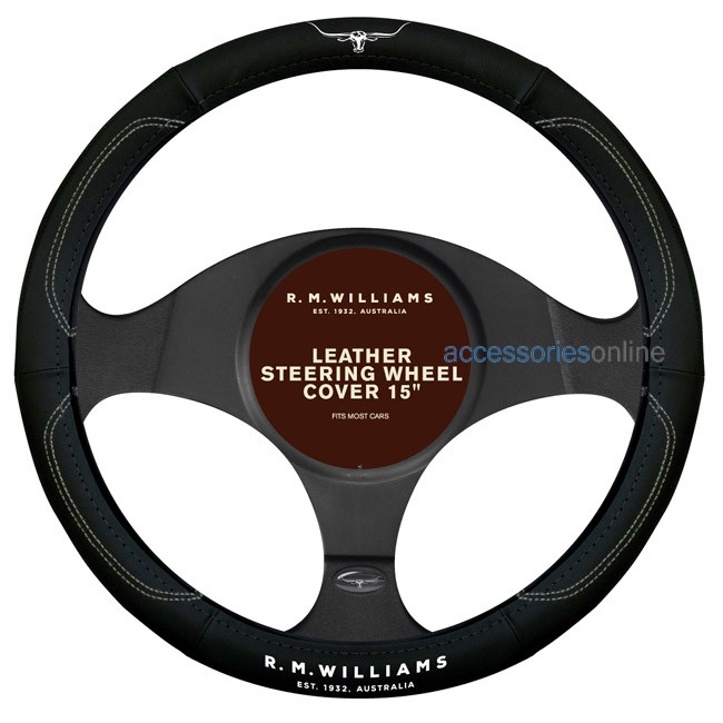 "RM WILLIAMS Leather Steering Wheel Cover Black and White suits 15"" wheels"