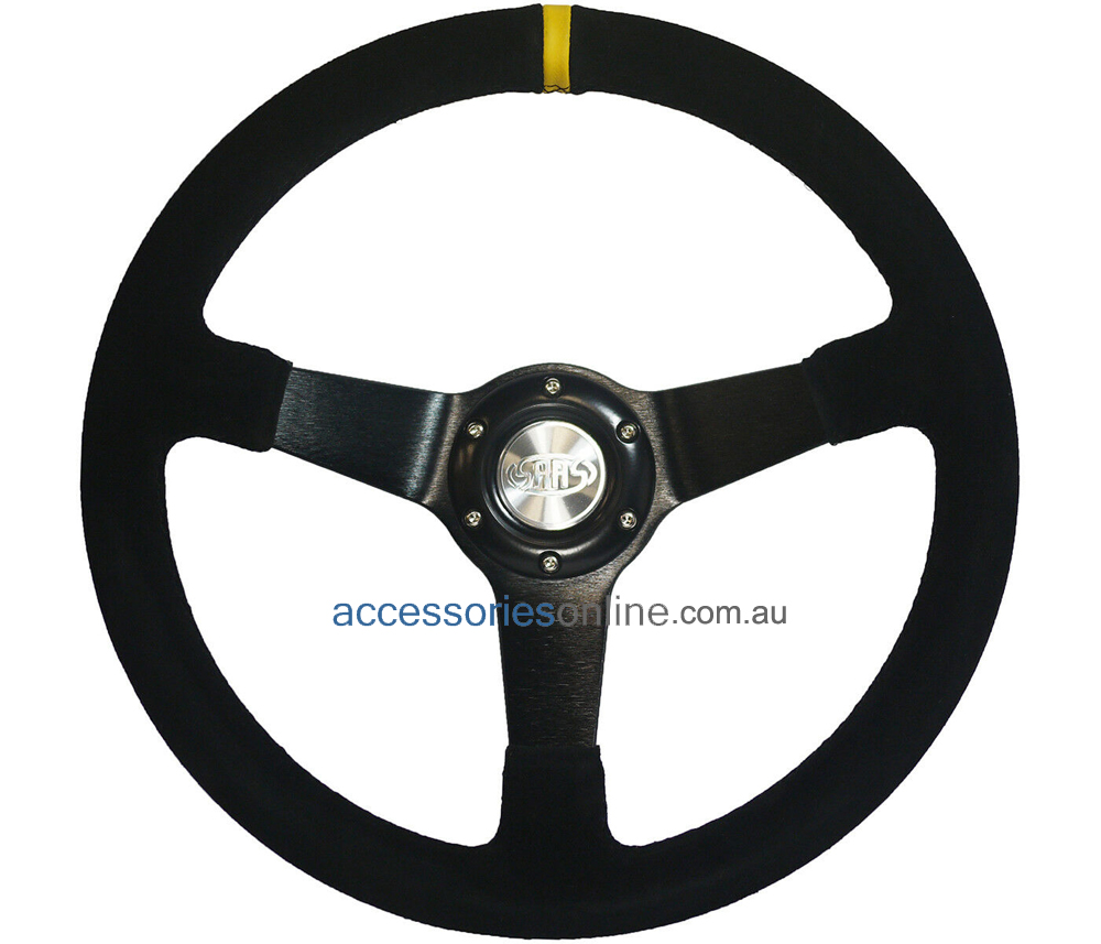 "14"" SUEDE sports steering wheel BLACK spokes 'DRIFTER' by SAAS *FREE POST"