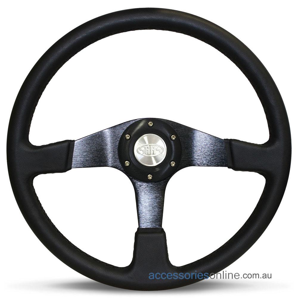 "14"" LEATHER Black Spokes, Octane sports steering wheel by SAAS"