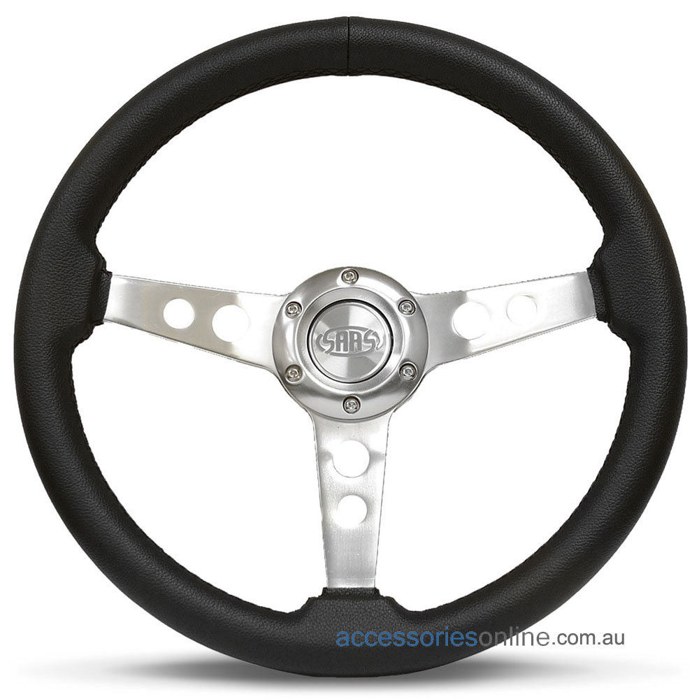 """14"""" LEATHER with Polished Spokes, Retro sports steering wheel by SAAS"""