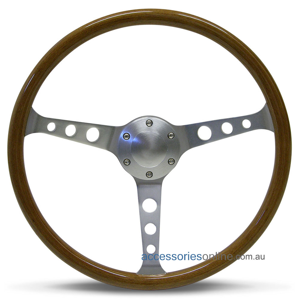 """15"""" WOOD DISHED with BRUSHED ALLOY spokes CLASSIC sports steering wheel by SAAS"""