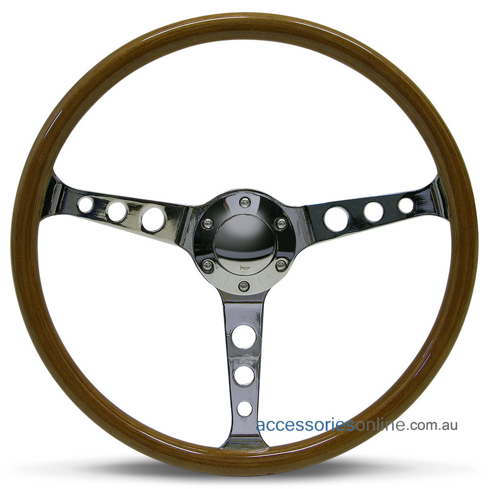 """15"""" WOOD DISHED with CHROME spokes CLASSIC sports steering wheel by SAAS"""