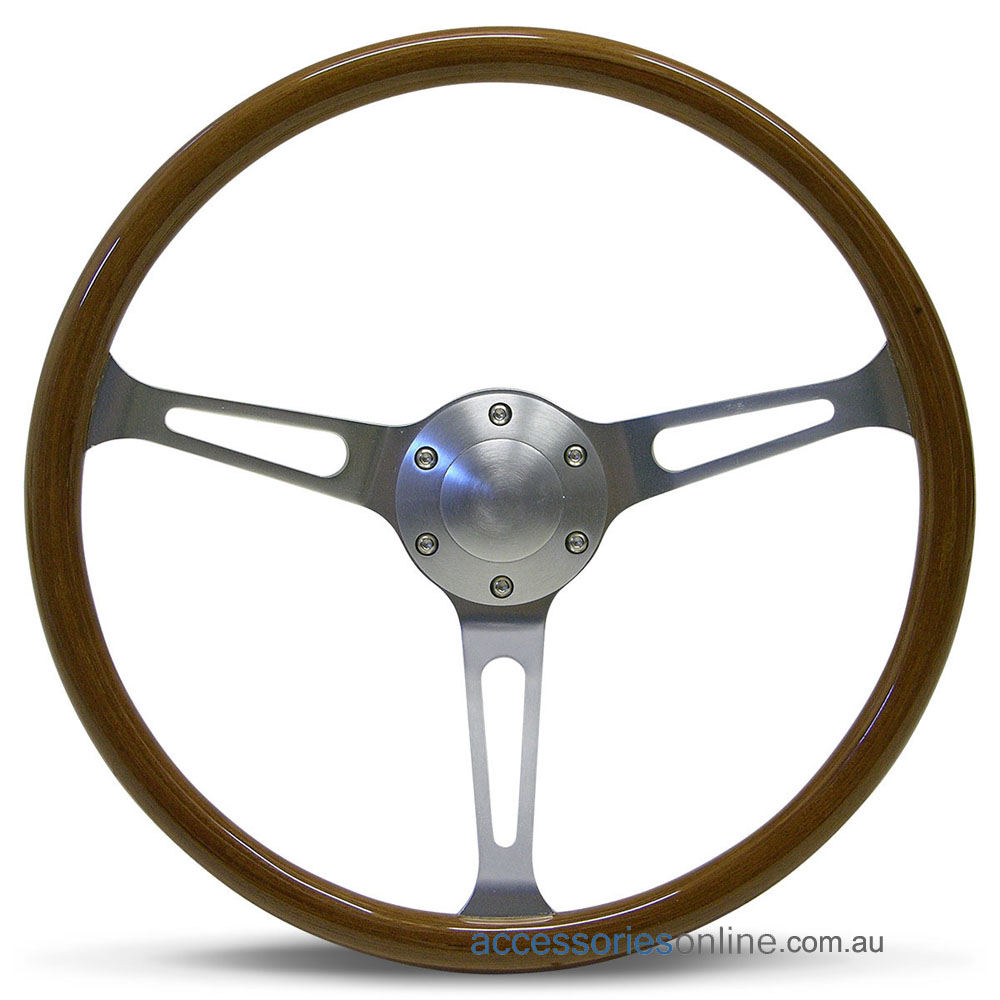 """15"""" WOOD DISHED with BRUSHED ALLOY slot spokes CLASSIC sports steering wheel by SAAS"""