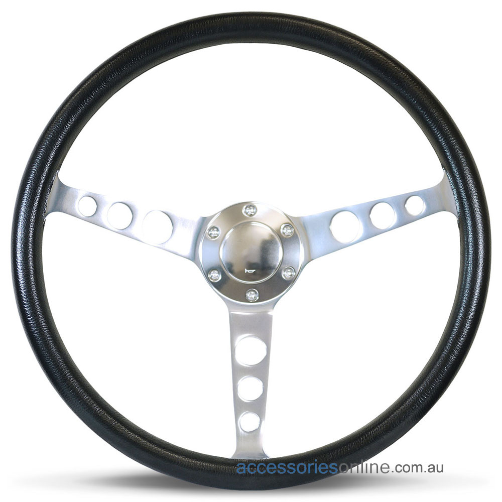"""15"""" POLY DISHED with POLISHED ALLOY spokes CLASSIC sports steering wheel by SAAS"""
