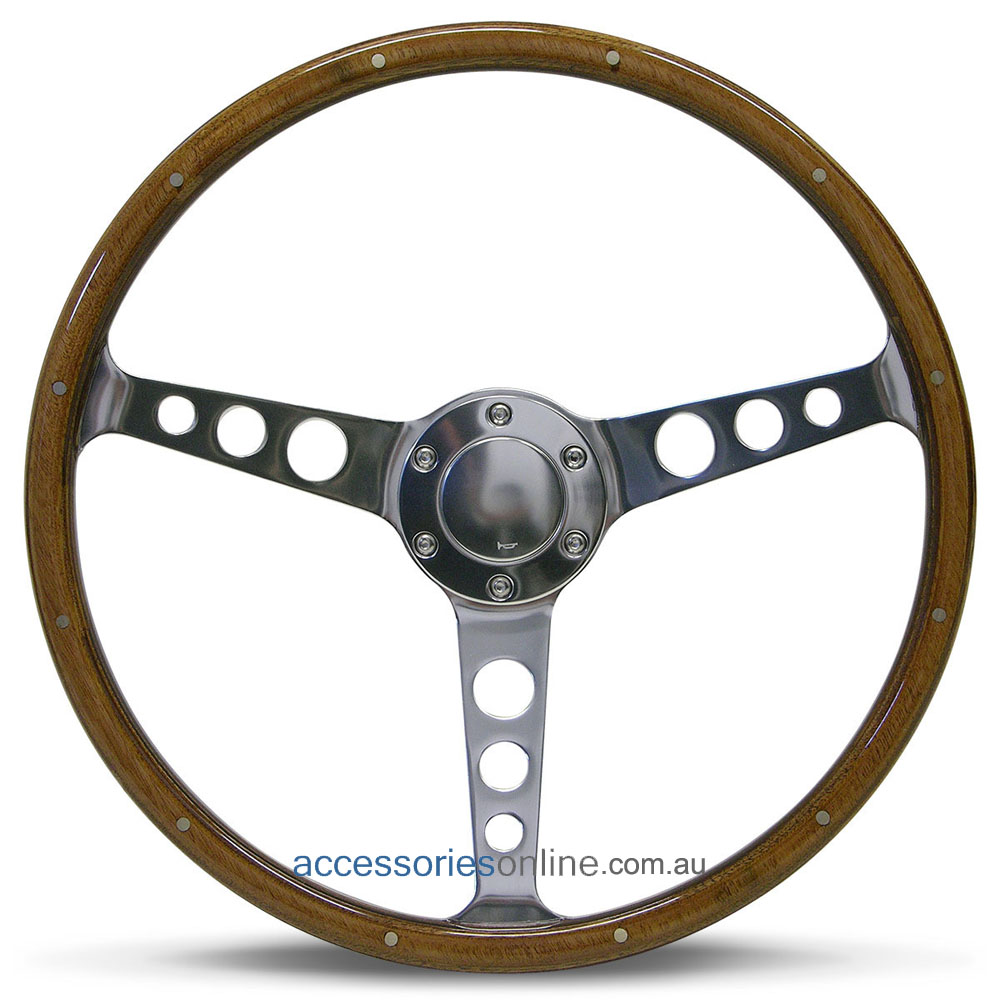 "15"" WOOD DISHED with RIVETS + POLISHED ALLOY hole spokes CLASSIC sports steering wheel by SAAS"