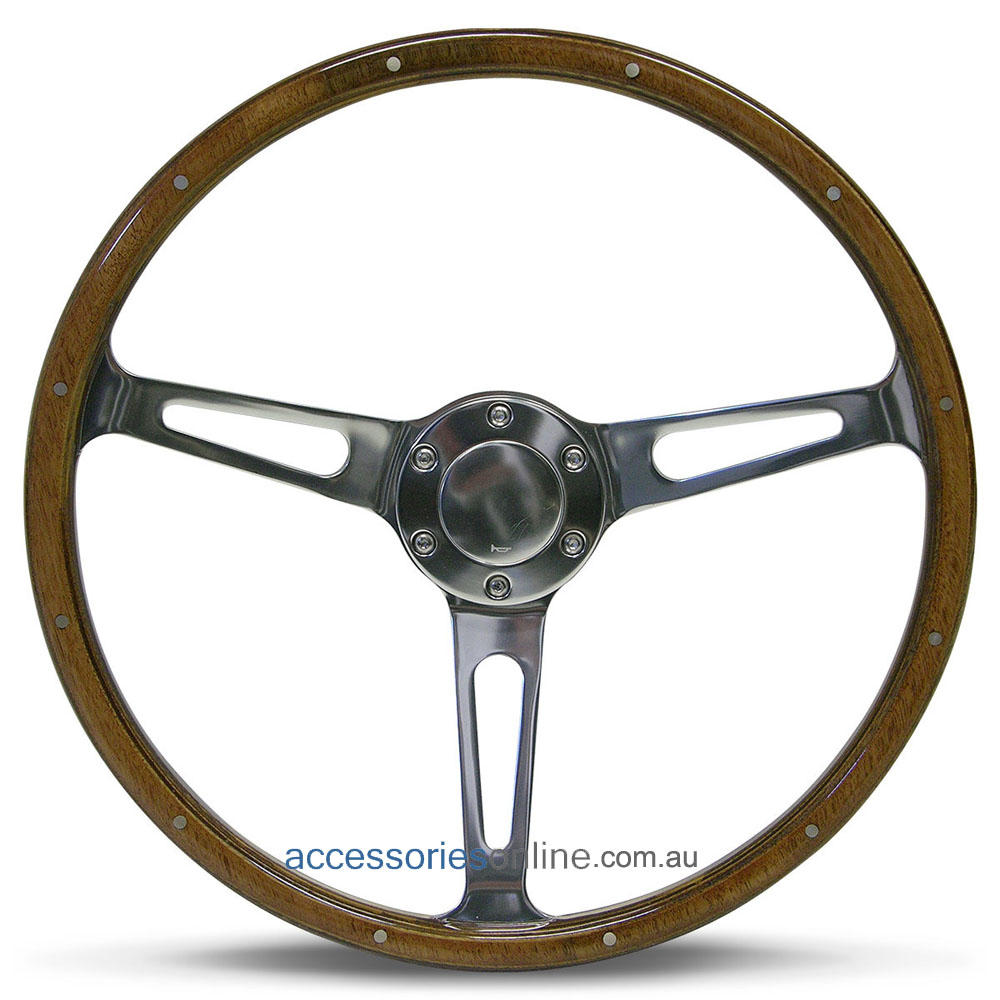 """15"""" WOOD DISHED with RIVETS + POLISHED ALLOY slot spokes CLASSIC sports steering wheel by SAAS"""