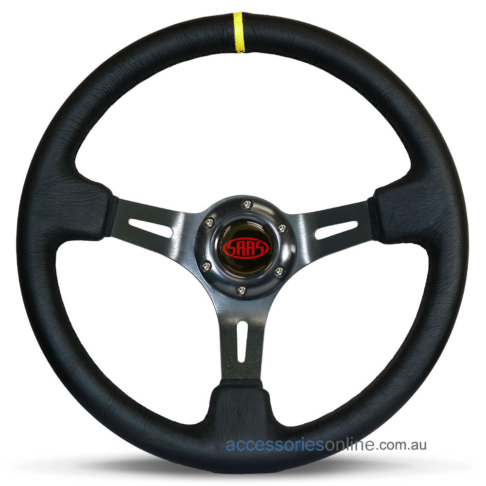 "14"" LEATHER DEEP DISH, Black Slotted Spokes, sports steering wheel by SAAS"