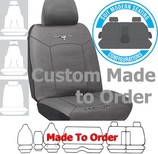 RM WILLIAMS COTTON CANVAS (13oz) in CHARCOAL seat covers CUSTOM MADE to your car. Front or Rear