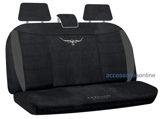 RM WILLIAMS SUEDE VELOUR Rear car seat covers BLACK *FREE SHIPPING