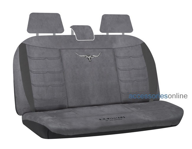 RM WILLIAMS SUEDE VELOUR Rear car seat covers GREY *FREE SHIPPING