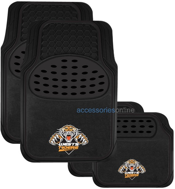 NRL WESTS TIGERS car floor mats - SET OF 4 *FREE SHIPPING*