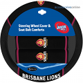 AFL BRISBANE LIONS car Steering Wheel & Seat-belt cover SET