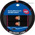 AFL BRISBANE LIONS car Steering Wheel & Seat-belt cover SET