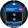 AFL PORT ADELAIDE POWER car Steering Wheel & Seat-belt cover SET