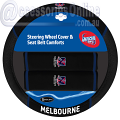 AFL MELBOURNE DEMONS car Steering Wheel & Seat-belt cover SET