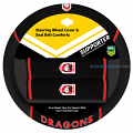 NRL ST. GEORGE ILLAWARRA DRAGONS car Steering Wheel & Seat-belt cover SET
