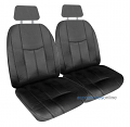 EMPIRE LEATHER LOOK Front car seat covers in BLACK *Free Shipping